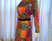 Awesome ultra mod vintage 60s 70s psychedelic patchwork look ruffle neck dress L/XL