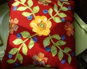 red wool floral pillow