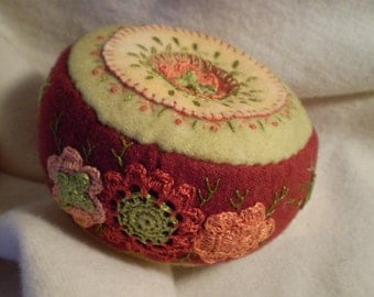 Rust and Orange Flowers Pincushion