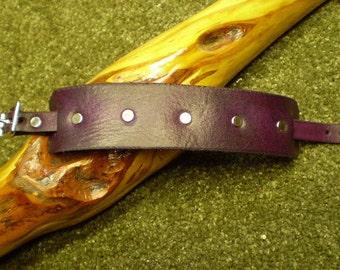 Nickel Rivet Dark Violet Cuff Bracelet with Nickel Buckle Closure