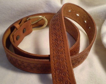 Hand Tooled Leather Belt - D