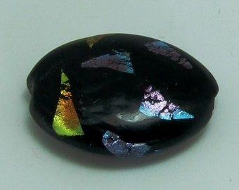 Black w/ Multicolor Metallic Triangles - Oval Lampwork Bead
