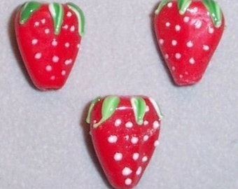 SALE - Strawberry Lampwork Beads Set of Three