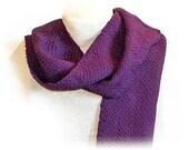 Handwoven Scarf Wool Purple woven OOAK