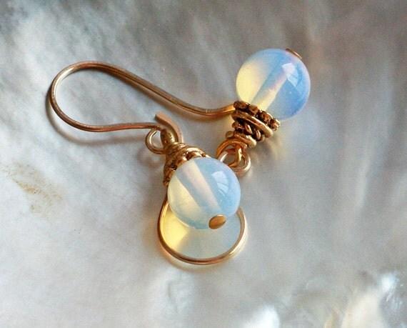 Earrings Sea Opal Drops on Handmade Gold fill Earwires