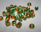 Green and Amber Glass Beads