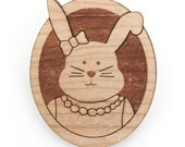 Bridget the bunny wood brooch