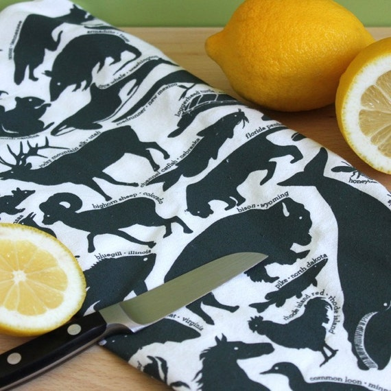 Kitchen Tea Towel - 50 State Animals - Dark Blue Green - zoology