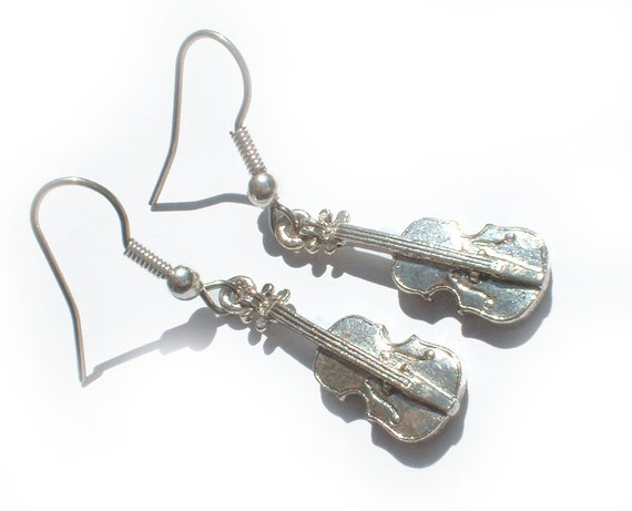 Violin Fiddle Music Pewter Charm Earrings.... Musician Gift