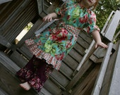 Peasant Dress Modern Ruffled Peasant Dress in Amy Butler Love Bliss in Teal Fabric NB-8Y  Great for Spring or Easter