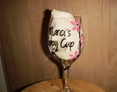 Personalized Sippy Cup Wine Glass with swirls and flowers