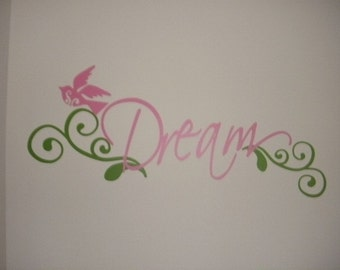 Dream Wall Vinyl Decal with swirls and bird