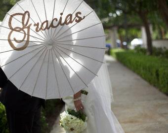Gracias Hand painted Parasol for Wedding