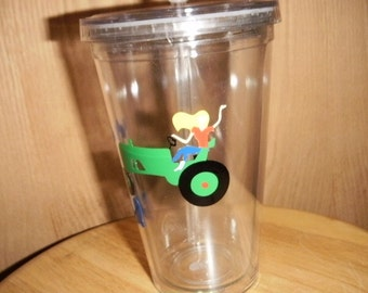 personalized Tumbler with tractor and farm girl