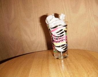 Rainbow Zebra Stripe personalized shot glass