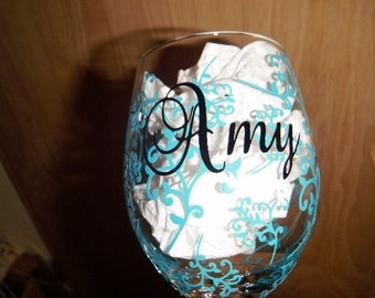 Personalized Wine Glass covered with swirls