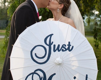 Just Married Painted Parasol for wedding photographs