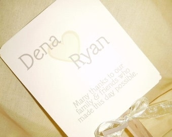 Wedding Song Fan Program with Bride and Groom names