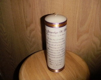 Personalized Memorial Candle for your wedding rememberance with bride and groom names