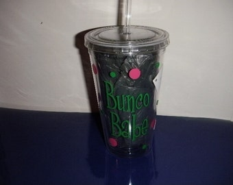 Bunco Babe Tumbler or Wine Glass Personalized