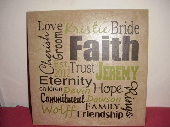 Wedding and Family Personalized 12 x 12 inch ceramic tile