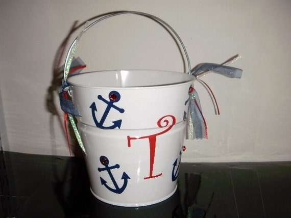 Flower Girl Bucket personalized with anchors and ribbon or Ring Bearer Pail