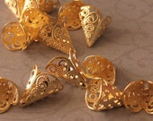 Fancy Filigree Gold plated Cones 12mm  ON SALE FOR 2.20 REGULAR PRICE 2.75