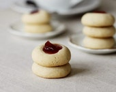 Thumbprint Jam Cookies, Rose & Black Pepper Tea cookies with rose preserves