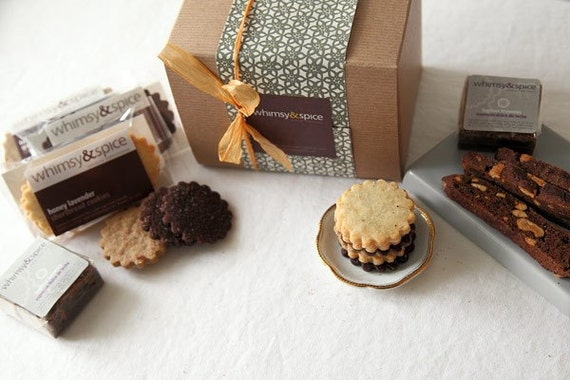 Cookie Gift Box, Whimsy and Spice Classic Sampler - cookies, biscotti, brownies