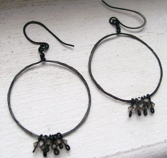Baby Octopus - Hand Forged Copper and Swarovski Crystal Hoop Earrings