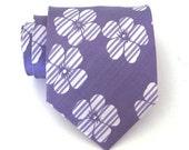 Necktie Lavender and White Flower Mens Silk Tie