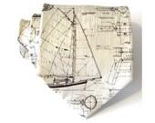 Sailboat Blueprint Silk Necktie