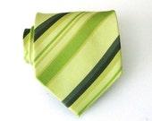 Lime Green Stripe Silk Tie