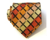 Burnt Orange Plaid Silk Tie