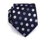 Necktie Mens Tie, Dark Blue Beehive Silk Tie