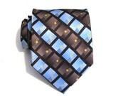 Necktie EXTRA LONG - Blue and Brown Silk Tie
