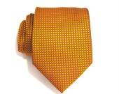 Mens Tie Burnt Orange and Black Square Silk Necktie