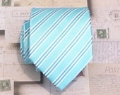 Mens Necktie Blue Striped Silk Tie