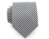 Necktie Black and White Striped Mens Silk Tie
