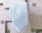Necktie for Men Blue and White Skinny Silk Tie