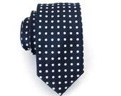 Mens Navy Blue and White Dot Skinny Silk Necktie