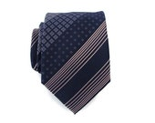 Tie Navy Blue and Tan Silk Necktie