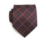 Mens Tie - Brown and Orange Plaid Silk Necktie