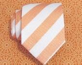 Mens Tie - Peach and White Striped Silk Necktie