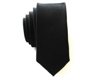 Mens Super Skinny Black Necktie With *FREE* Matching Pocket Square Set