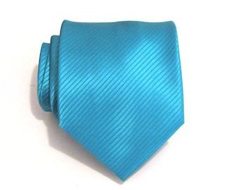 Vibrant Turquoise Mens Necktie Teal Blue Stripe Silk Tie