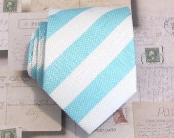 Mens Ties Necktie Light Blue and White Striped Mens Silk Tie