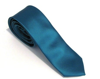 Mens Necktie Teal Silk Skinny Necktie With Matching Pocket Square Option