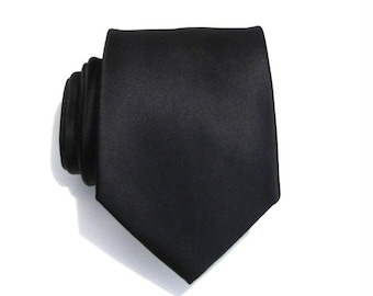 Mens Tie Black Silk Men Necktie With Matching Pocket Square Option