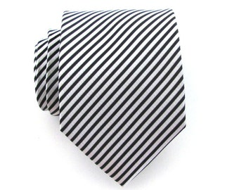 Necktie Black and White Striped Mens Silk Tie